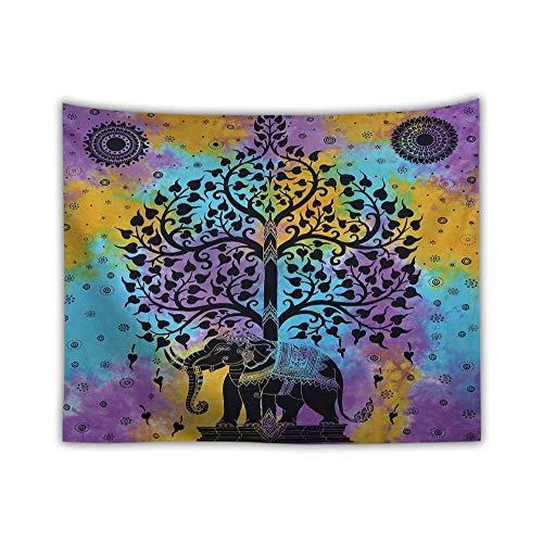 KHKJ Hippie Tapiz para Colgar en la Pared Mandala Elefante Árbol Psicodélico Boho Decoración India Pared Alfombra Manta de Viaje Playa Yoga A1 200x150cm