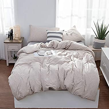 LIFETOWN Jersey Knit Cotton Duvet Cover Queen, 1 Duvet Cover and 2 Pillowcases, Simple Solid Design, Super Soft and Easy Care (Full/Queen, Light Coffee)