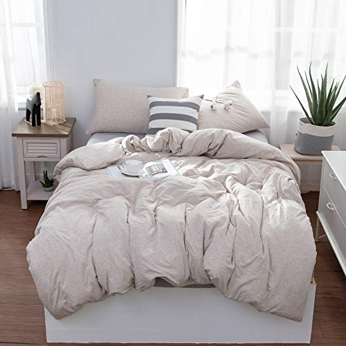 MisDress Jersey Knit Cotton 3 Pieces Duvet Cover Set Ultra Soft Comforter Cover and Pillow Shams Solid Color Bedding Set Light Coffee Queen Size