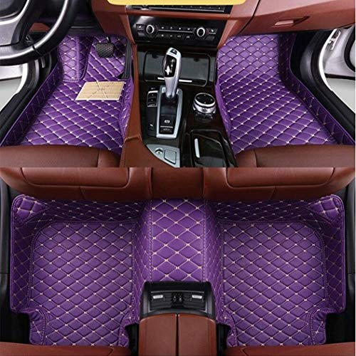 Custom for 95% of Car Models Car Floor Mats Full Covered Leather Front and Rear Carpets All Weather Protection Performance Floor Liner Purple