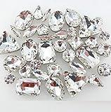 BrillaBenny Mix 50 Pietre CASTONI Strass da Cucire Vetro CABOCHON Sew On Rhinestone Claw Clothes Shoes Decoration Stone DIY Accessories (Trasparente Crystal)