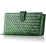 Ys-s Personalización de la Tienda Cuero Genuino Mujer Clutch Wallet Moda Monedero Monedero Tarjeta de Moneda Efectivo Factura Varizable Diseño Alto Calibre (Color : Green, Size : A)
