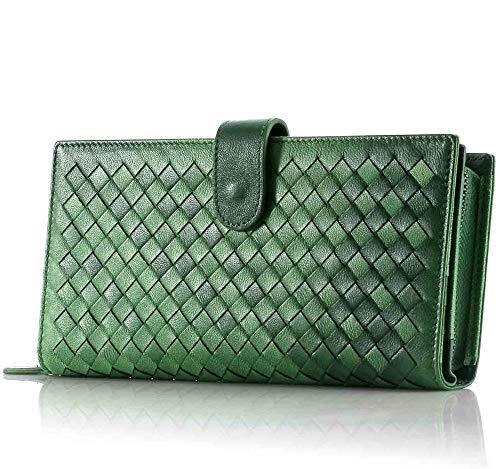 Yi-xir Bolso favorito para mujer de cuero genuino para mujer, monedero, tarjeta de moneda, factura en efectivo, diseño de farsighted de alto calibre (color: verde, tamaño: A)