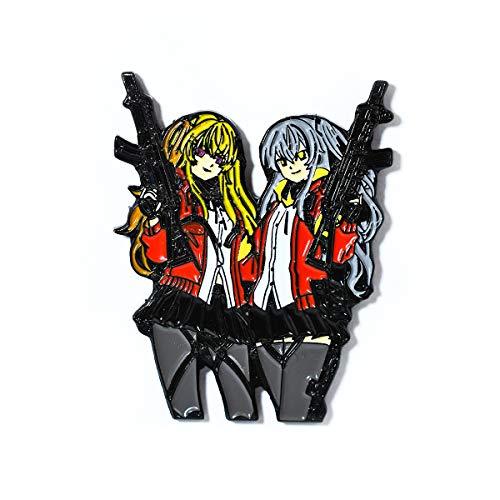 Anime Gun Girl Twins Manga Hat & Bag Pendant Lapel Hat Pin