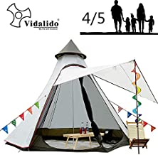 Vidalido 12'x10'x8'Dome Camping Tent 5-6 Person 4 Season Double Layers Waterproof Anti-UV Windproof Tents Family Outdoor Camping Tent(White)