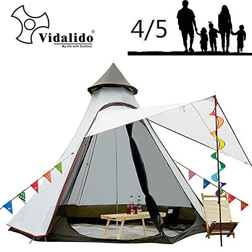 12'x10'x8'Dome Camping Tent 5-6 Person 4 Season Double Layers Waterproof Anti-UV Windproof Tents Family Outdoor Camping Tent(White)