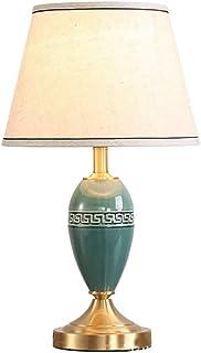 Lampara de Mesa, Lámparas de mesa deco casero lámpara de la mesilla de cerámica verde moderno, lámparas de mesa con pantalla de tela de salón dormitorio, la lectura de latón Lámparas de oficina Oficin