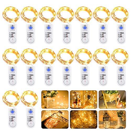 Luci Stringa LED a Batteria, 16 Pezzi 2M 20 LED Mini Luci Filo di Rame, Impermeabile Lucine Decorative con Timer, Micro Luci Stringa Flessibile per Esterni, Interni, Natale, Feste, Matrimonio, DIY ecc