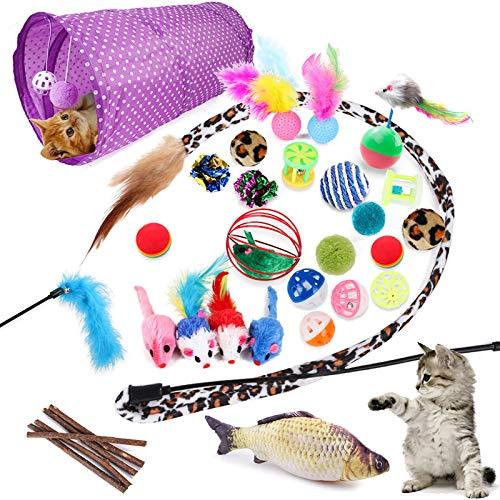 McNory 28 Stück katzenspielzeug Set mit Katzentunnel,Bälle,Federspielzeug,Plüschspielzeug,Spielzeugmäuse,Katzen Spielzeug Variety Pack für Kitty,Katze Toys Variety Pack