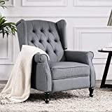 Altrobene Fabric Manual Recliner Chair, Modern Accent Arm Chair with Tufted Wingback for Living Room/Bedroom/Home Office, Grey