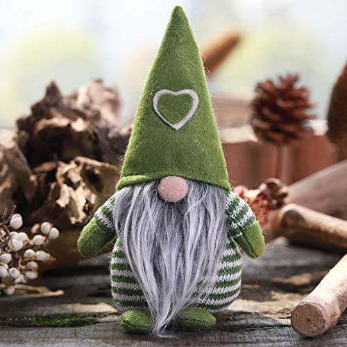 Decoración para el hogar Decoración de Navidad Sombrero a rayas Atado Barba Colgando las piernas Sin Cara dol#AQ (Verde)