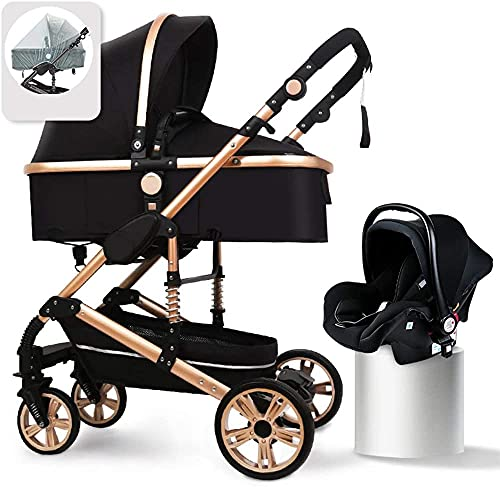 YZPTD Baby Pushchairs and Strollers, Kinderkraft Pram 3 in 1 Set, Travel System, Baby Pushchair, Buggy, Foldable, with Infant Car Seat, Baby Fan, Rain Cover, Footmuff, Cup Holder (Color : Black)