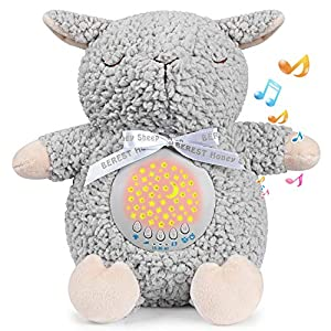 BEREST Rechargeable Baby Sleep Soother Sleepy Sheep, Womb's Heartbeat Lullabies & Shusher White Noise Machine, Nursery Decor Night Light Projector, Toddler Crib Sleeping Aid, Baby Shower Gifts Sheep