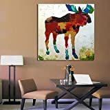YYJHMK Moose Graffiti Abstract Animal Picture Canvas Print Decoration Oil Painting Picture for Bedroom Living Room No Frame