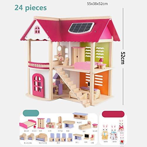 OUPAI Häuser für Modepuppen Puppenhaus, Schlafzimmer mit Möbeln, Mini Doll .Doll Hause Spielzeug for 3-8 Jahre Mädchen (Color : B, Size : 24 Pieces)