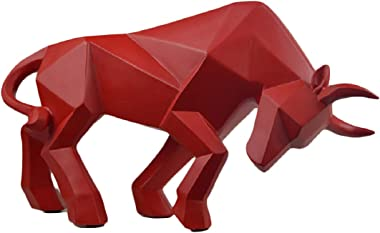 Abstract Sculptures Home Decor Animal Figurines Geometric Surface Statues (Red Bull)