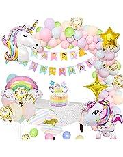 MMTX Enhörning festdekorationer tillbehör, enorma 3D enhörningsballonger grattis på födelsedagen banderoll regnbåge ballong stjärna ballong bordsduk tårtdekoration och latex festballonger för spädbarn flicka pojke dam födelsedag