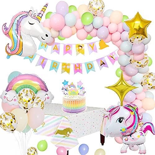 Unicornio Decoraciones Cumpleaños de Fiesta para Niños, Enormes 3D Globos de Unicornio Cumpleaños Estandarte Cake Toppers Manteles Globo Arco Iris Globo Estrella para Niños Niñas cumpleaños