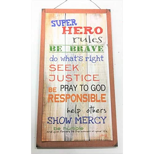 Com Super Hero Rules Boys Bedroom Inspirational Wooden Wall Art Sign Be Brave Do Whats Right Seek Justice Home Kitchen
