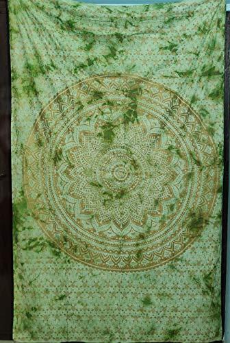 ICC New Mandala Tapiz Boho Metálico Colgante, Tapices gitanos, arte indio, hippie, bohemio, colcha de algodón original, decoración de dormitorio (verde dorado Ombre, Twin)