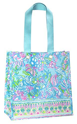 Lilly Pulitzer Blue/Green Market Shopper Bag, Reusable Grocery Tote with Comfortable Shoulder Straps, Aqua La Vista
