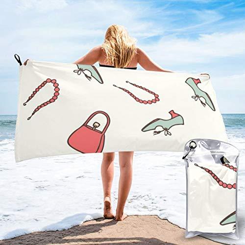 Colin-Design Vintage-Mode, nahtloses Muster, Mikrofaser-Reisehandtücher, schnelltrocknend, leicht, sandfrei, Stranddecke zum Sonnenbaden, Rucksackreisen, Sport, Yoga, Schwimmen, 160 x 81 cm
