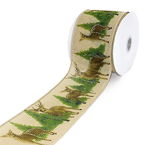 """CT CRAFT LLC Faux Jute Christmas Deer and Tree Wired Ribbon for Home Decor, Gift Wrapping, DIY Crafts, 2.5"""" x 10 Yards x 1 Roll - Natural with Brown and Green"""