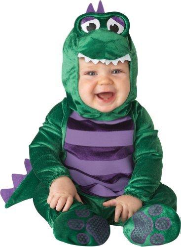 InCharacter - Costume da dinosauro, unisex, per neonati, taglia L, colore: verde/viola, taglia L