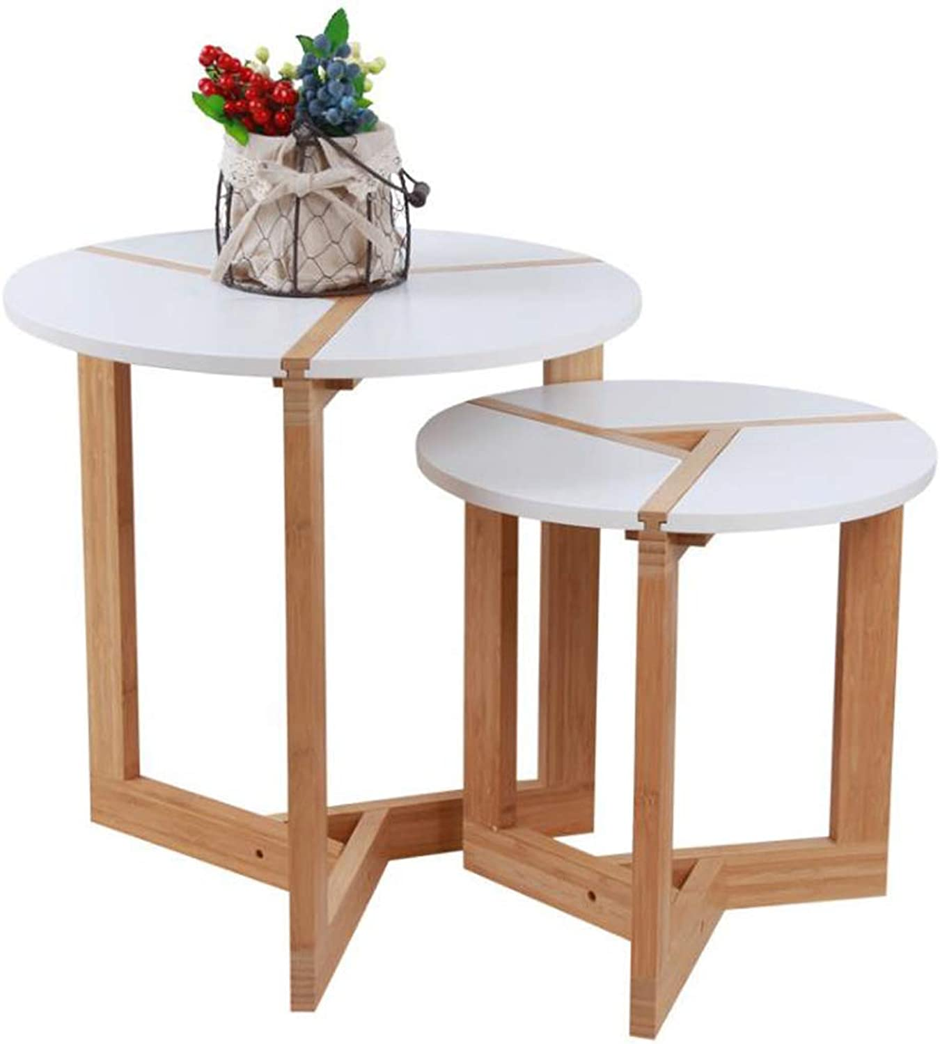 Solid Wood Nordic Coffee Table Dining Table Balcony Coffee Small Round Table Bedside Table Creative Sofa Side,Single Sale (Size   S)