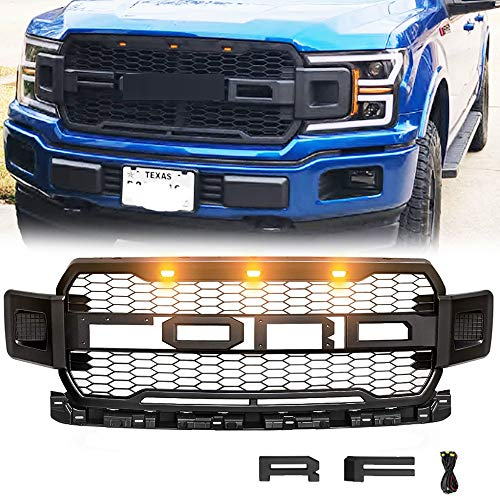 Front Grill For F150 2018 2019 2020 Grille Fit F150 Raptor Grille,Including XL, XLT, LARIAT, King Ranch, Platinum and Limited,With 3 Amber Lights (Click to select Black)