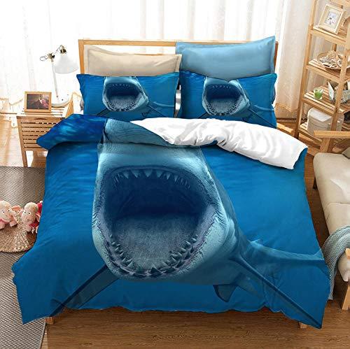 SixyeLiuzhi Juego de Funda nórdica 3D Fundas de edredón de Animales Marinos Azules Juego de edredón Juego de Cama Juego de sábanas King Queen Full Double Single Size Bed,173x218cm(3piezas)