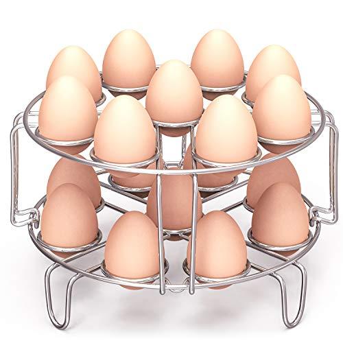 Packism Egg Steamer Rack, Steaming Rack Fit 6,8Qt Instant Pot Accessories Air Fryer Ninja Foodi, Cook 18 Eggs, Stainless Steel Kitchen Trivet Stackable Steaming Holder Pressure Cooker Accessories