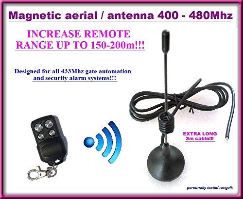 Magnetische antenne/auto-poort antenne en afstandsbedieningssysteem 433 MHz met extra lange kabel 3 m. Gamma: 150m-200m