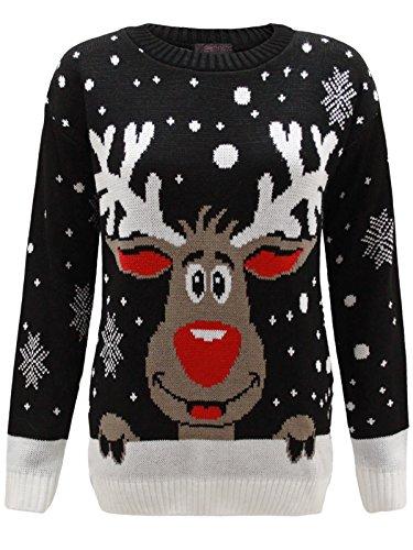 Envy Boutique - Sweat Unisexe Homme Femme Flocon de Neige Rodolphe Noël - Noir, XXL