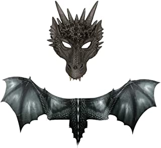 Halloween Mask Props,3D Fantasy Halloween Dragon Mask Set Costume Cosplay Animal Mask Wing Accessory for Men Women