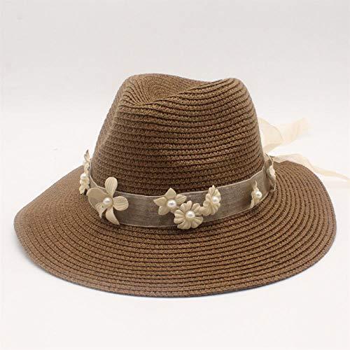 Sombreros De Paja Gorra De Mujer Flor De Perla Abalorios Sombrero De Paja De ala Plana Sombreado Sombrero para El Sol Lady Beach Hat-Brown_56-58Cm