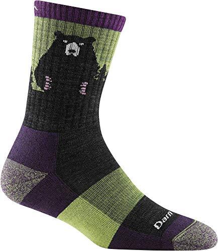 Darn Tough Women's Bear Town Micro Crew Lightweight with Cushion – Medium Lime Merino Wool Socks for Hiking