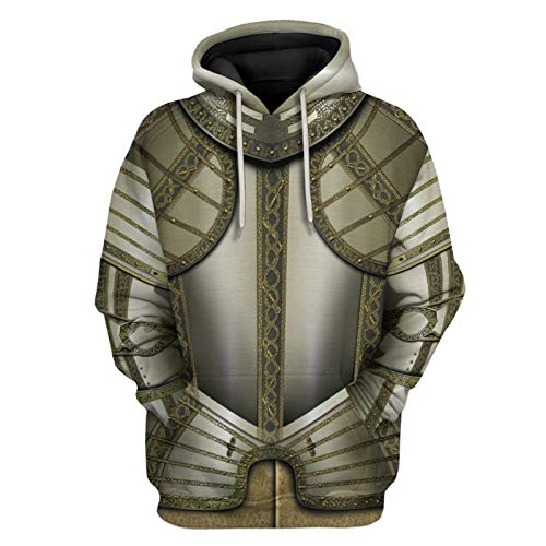Knight Hoodie Medieval Armor Sweatshirt Templar Pullover Vintage Adult 3D Printed Jacket for Men (L, Color 9)