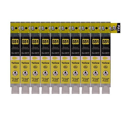 10 Druckerpatronen für Canon mit Chip, ersetzt CLI-551Y Yellow