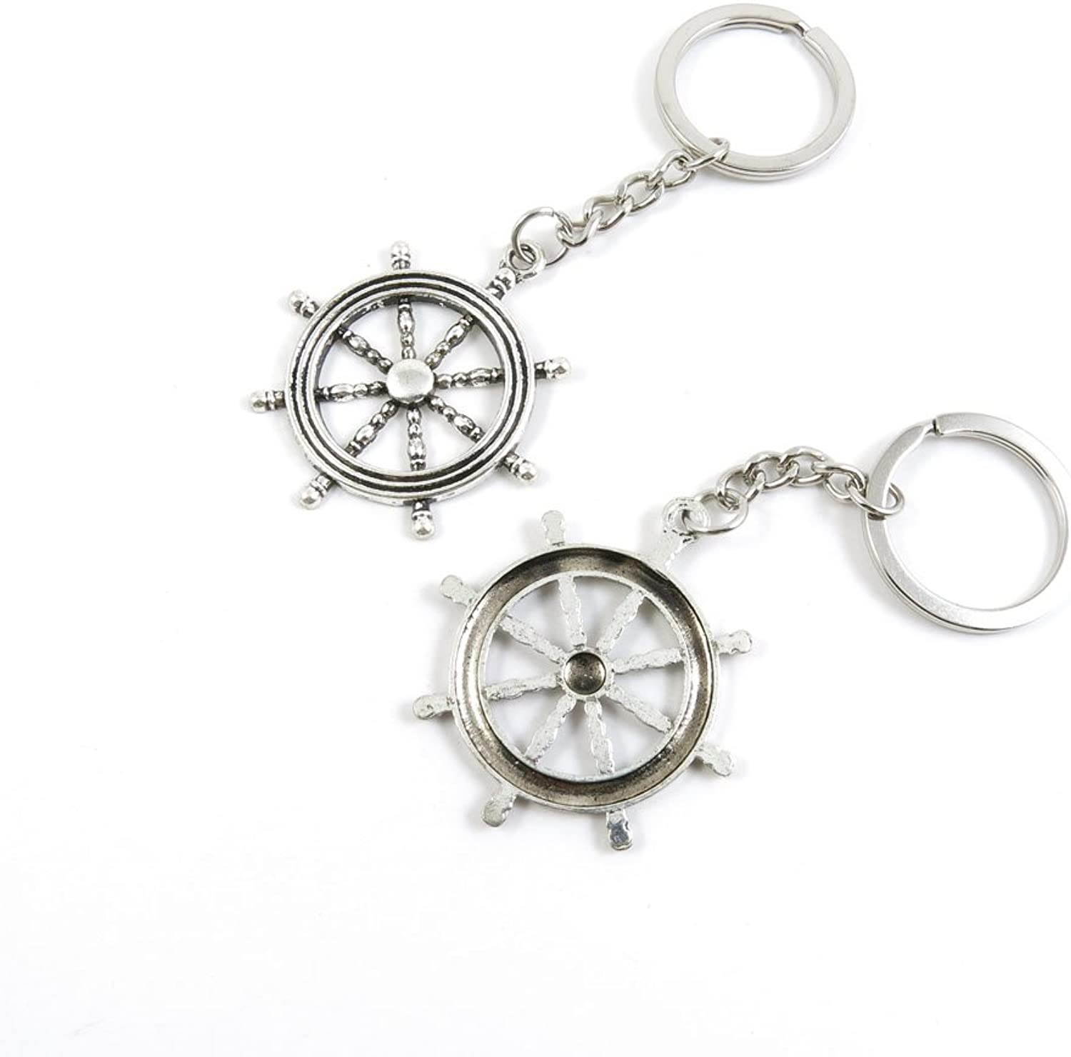 50 Pieces Keychain Keyring Door Car Key Chain Ring Tag Charms Bulk Supply Jewelry Making Clasp Findings K8WW2G Rudder