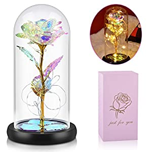 gifts for her women girlfriend wife mom, galaxy rose gift for valentine's day, romantic rose in a glass dome with led light, unique gift for wedding, valentine's day, christmas, halloween decorations silk flower arrangements