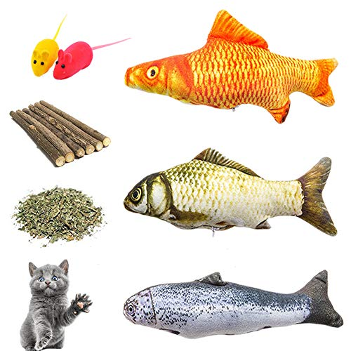 Catnip Toys, Cat Teeth Grinding Chew Toys Set - 3 Refillable Catnip Fish, 6 Catnip Matatabi Chew Sticks, 2 Squeaky Mouse, with Extra Catnip for Refill, Best for Cat, Puppy, Kitty, Kitten, Ferret