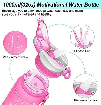 MEITAGIE Bouteille d'eau, 1000ml Bouteille avec Paille et Marqueur de Temps - Gourde Sport Étanche sans BPA Anti-Fuite, Convient pour le Sport, la randonnée, l'école, le Bureau, en Plein Air