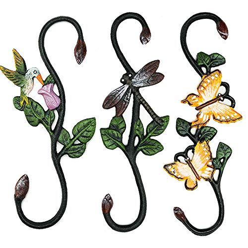 Sungmor Heavy Duty Cast Iron Large S Hooks - 30CM & 3PC Pack Painted Hook - Indoor Outdoor Gardening Plant Hooks Birdfeeder Hanger - Great S Shaped Hanging Hooks for Home Decorative Hangings