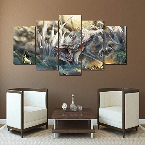 KDSFHLL 5 Dekorative Gemälde Hd Gedruckt Comics Drachen Malerei Leinwanddruck Malerei Auf Leinwand WandkunstDruckgrafik(kein Rahmen)