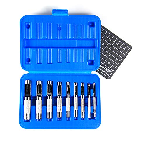 OWDEN 9 PIECES HOLLOW PUNCH SET (1/8'-1/2') WITH A FREE CUTTING MAT, LEATHER PUNCH SET