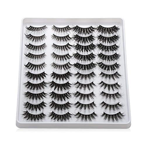 20 Pairs 3D Mink Eyelashes Handmade Makeup Mixed Styles Mink Lashes Natural False Eyelashes Long Eyelashes Extension Faux Lashes(401)