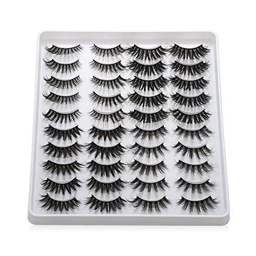 20 Pairs 3D Mink Eyelashes Handmade Makeup Mixed Styles Mink Lashes Natural False Eyelashes Long Eyelashes Extension Faux Lashes(401)