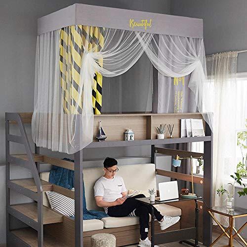Mosquiteras2020 nuevo dormitorio para estudiantes mosquiteros cortinas de cama sombreado antimosquitos mosquiteros cama y mosquiteros Rejilla gris y amarilla (longitud 190 ancho 90 altura 110) lite
