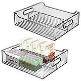 mDesign Juego de 2 Cajas organizadoras con Asas – Contenedor de plástico con 2 divisiones para almacenar Alimentos – Cajón de Cocina de plástico para los armarios o la Nevera – Gris Oscuro